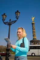 Berlin City, Deutschland, Germany, Girl Looking at Map, Lost, Tourist, Deutschland, Young, Woman, Blonde Woman, with Map, Tourist, Look, Looking, Find...