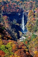 Kegon Waterfalls and autumn landscape