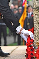 Wreath laying at Remembrance day service in the UK