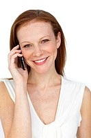 Sophisticated businesswoman on phone isolated on a white background
