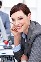 Close_up of an attractive businesswoman at work Business concept