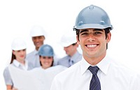 Focus on an architect wearing a hardhat against a white background