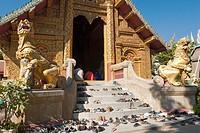 Buddhist religious service in Wat Mahawan  Chiang Mai, Thailand