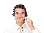 Charismatic latin businessman using headset isolated on a white background