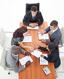 High Angle of multi_ethnic business people working together in a meeting