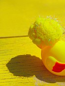 Close_up of a yellow stuffed duck