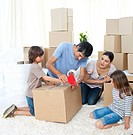 Jolly Family moving house packing boxes