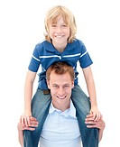 Close_up of father giving his son piggyback ride against a white background