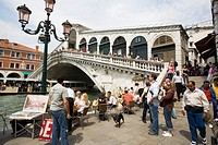 Outdoor cafe Rialto Bridge over the Grand Canal Venice Italy
