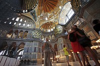 Tourists in Hagia Sophia, Istanbul, Turkey