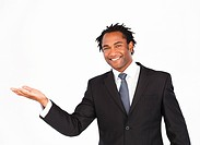 Smiling afro_american businessman offering his hand looking at the camera