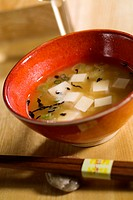 Sushi miso soup with tofu and leek