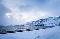 Lake and mountain during winter. Kleifarvatn lake. Southern Peninsula. Iceland.