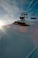Low angle view of ski lifts, French Alps, France