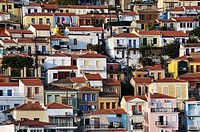 Plomari town under late afternoon light, Lesvos island, Greece