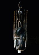 Wooden carving of Bambara N´tomo Mask, USA, Florida, Jacksonville, The Museum of Contemporary Art, African Art Collection