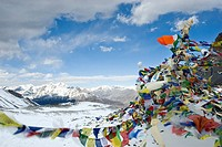 Landscape from Thorong La pass (5416 metres), Annapurna, Himalayas, Nepal