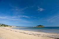 Marazion Bay and St Michaels Mount in late summer sunshine Cornwall West Country England UK United Kingdom GB Great Britain British Isles Europe EU