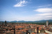 Lucca view of town rooftops from tower Lucca Tuscany Italy Italia Toscana Europe EU