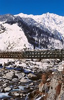 Aerial view of suspension bridge , Manali , Himachal Pradesh , India