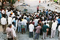 Crowd watching world cup cricket match on street , Bombay Mumbai , Maharashtra , India