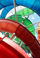 Colourful waterslides at waterpark