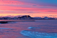 mediterranean sunset on sea Denia Rotas beach colorful sky