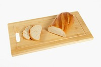 Genuine Russian white bread on a cutting board