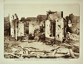 Soldiers occupying house in ruins after bombardment at Kaaskerke in Flanders during the First World War, Belgium