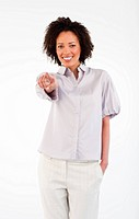Friendly Afro_American businesswoman pointing at the camera