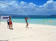 Playing volleyball at Boracay Beach, Philippines