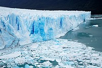 Argentina, Patagonia, Los Glaciares National Park  Icebergs floating in front of the Perito Moreno Glacier