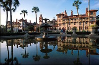Reflection at the fountain in front of the Flagler College, St. Augustine Florida, USA, America