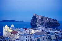 Houses of the Ponte district and the Castello Aragonese in the evening, Ischia, Campania, Italy, Europe