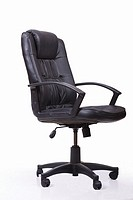 Black leather swivel and tilt office chair on castors  Isolated