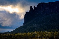 Australia, Tasmania, Cradle Mt - Lake St Clair National Park  Dramatic sky and Mount Oakleigh seen from New Pelion Hut on the Overland Track