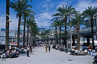 People on the promenade beneath palm trees, Porto Antico, Genoa, Liguria, Italy, Europe
