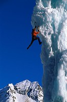 A man ice climbing, Sand in Taufers, South Tyrol, Italy, Europe