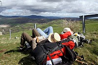 pilgrims resting on the Camino de Santiago before reaching Triacastela (Lugo)