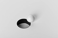 close_up of Golfball near hole