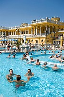 People in thermal bath, People relaxing in thermal bath of Szechenyi_Baths, Pest, Budapest, Hungary