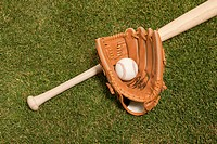 Baseball, bat, glove and ball on grass