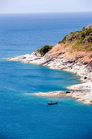 View over coastline near of Laem Phromthep, Phuket, Thailand