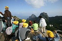 Tourist group, view from peak, Huang Shan, Anhui province, World Heritage, UNESCO, China, Asia