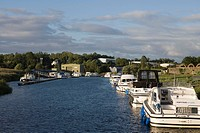 Houseboats at Belturbet Harbour on River Erne, Belturbet, County Cavan, Ireland