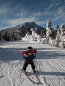 Boy skiing, Jay Peak, Vermont