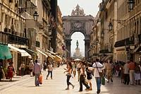 Rua Augusta with Triumphal Arch, Praca do Comercio, Baixa, Lisboa, Portugal