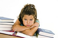 Child very up set while working on homework on white background