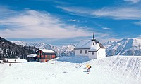 Bettmeralp in Winter, chapel, Wallis, Switzerland