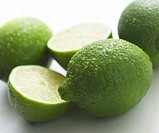 Fresh Limes on a white background